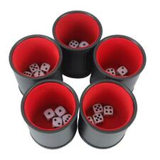 5 Dice Cups Red Felt-Lined Quality Bicast Leather with 25 White Six-Sided Dice