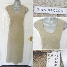 ❤ Gina Bacconi Talla 16 Beige Marrón Mezcla Vestido Largo ocasión Lado Splits Shift
