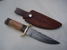 Pioneer Custom Made Damascus Steel Hunting Knife New,With Brasss Guard,9.5Pt-542