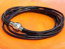 Ladies black leather and stainless steel double wrap bracelet by Lyme Bay Art