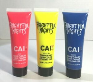 3 ASSORTED CAI Frightful Nights Temporary Hair Color Styling Gel Red Yellow Blue