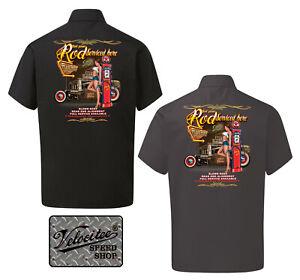 Velocitee Mens Mechanic Work Shirt Hot Rat Rod Service Pin Up Hotrod A22689