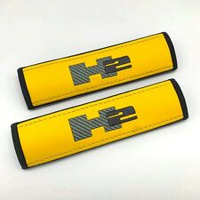 Hummer H2 Yellow Seat belt covers pads with embroidery 2PCS