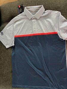NWT Under Armour Polo Golf Shirt White/Blue/Orange Striped Golf Club Size M