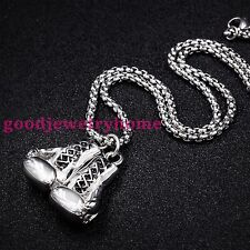 """Men's Stainless Steel Silver Rocky Boxing Glove Pendant 24"""" Box Chain Necklace"""