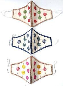 Women/Children Designer Indian Embroidered Mask Design C