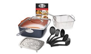 Gotham Steel Nonstick Deep Square Pan Set with 5 Pc Utensils and Clear Glass Lid