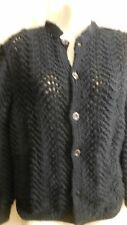 NEW HANDMADE WOOL HAND KNITTED NAVY BLUE CARDIGAN JACKET SWEATER S/M
