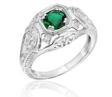 Art Deco Inspired Sterling Silver 3/4ct Green CZ Engagement Milgrain Ring Size 6