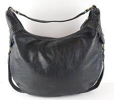 BOC Born Concept Black Pebbled Leather Woven Trim Hobo Shoulder Handbag Large