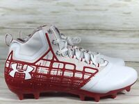 Under Armour Banshee Mid Mc Football Lacrosse Cleats Red Mens 11 New 1297351-161