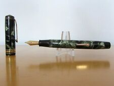 Vintage Conway Stewart No55 Green/Black Marble Fountain Pen with 14ct Gold Nib