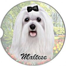 E&S Pets Absorbent Car Coaster Dog Breed Stoneware Maltese White Puppy