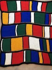"""Mondarin Inspired Handmade Crocheted Afghan Blanket Throw Orange Blue Red 60""""x52"""