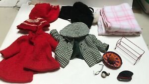 Lot of 12 Miscellaneous Vintage Doll Accessories, Clothes, Furniture