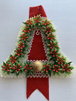 Vintage Christmas Bell Wall Hanging Banner Door Decoration Plastic Ornament 1960