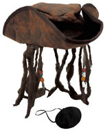 Adult Distressed Brown Caribbean Pirate Costume TriCorn Hat & Eye Patch