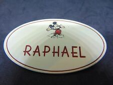 RARE ORIGINAL DISNEY CAST MEMBER RAPHAEL NAME TAG