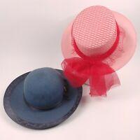 2 Ladies Hats Vintage Arregui Extra Blue Pink Unon Made 58 5-1/2