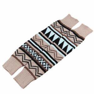 Womens Leg Warmer Boho Knitted Long Cuff Stocking Over Knee High Boot Warm Socks