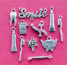 Dentist Charm Collection 11 Silver Dental Charms Pendants Beads / Jewelry