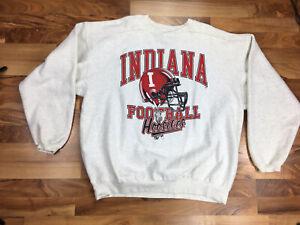 Vintage Indiana Hoosiers Football Crewneck Sweatshirt Men's XL 90's LOGO Gray