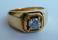Men's nice Solitaire Engagement Ring 1.00Ct Round Cut Diamond 14K Yellow Gold FN