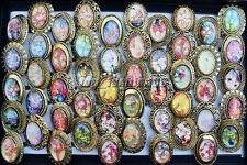 10Pcs Wholesale Mixed Lots Resin Flower Alloy Bronze Rings Woman Jewelry FREE