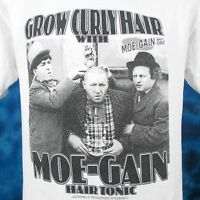vintage 90s THE THREE STOOGES MOE-GAIN HAIR TONIC T-Shirt M curly larry comedy