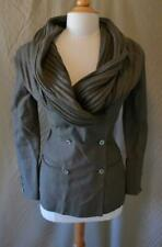 Vintage Claude Montana Taupe Linen Double Breasted Jacket w/Pleated Collar Sz 4