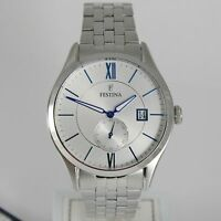 FESTINA WATCH QUARTZ MOVEMENT, BIG 43 MM CASE WITH DATE 5 ATM, WHITE & BLUE FACE