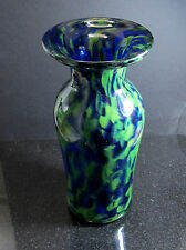 BLUE GREEN Art Glass AVENTURINE VASE hand blown glass  ORIGINAL USA Artist