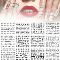 12 Sheets Nail Art Water Decals Transfer Stickers Love Text Letter Manicure Tips