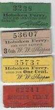 4 different 19th Century vintage Hoboken Ferry transit tickets, Nj Ny