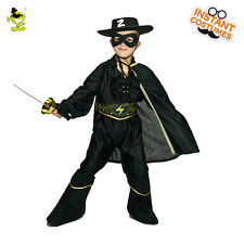Boys Black Masked Bandit Costume Child Spanish Mexican Brigand Cosplay Outfits