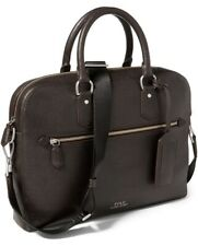Polo Ralph Lauren Mens Pebbled Leather Briefcase Color Brown New