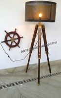 Home Decor Wooden Tripod Floor Lamp Nautical Vintage Marine Shade Lamp Modern