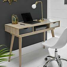 Scandinavian Laptop Computer Desk - Retro Nordic Table - White Grey Scandi Style