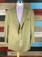 Hart Schaffner Marx Mens Two Button Sport Coat Brown Wool Plaid Jacket 50 R