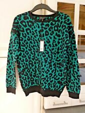 ROMEO & JULIET COUTURE Designer Unusual Green & Black Mix Jumper Size M NWT $130