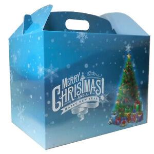 10 x CHRISTMAS TREE LARGE GABLE GIFT BOXES - XMAS Eve Gift Hamper BOX