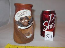 """VINTAGE STONEWARE POTTERY CLAY 3D FUNNY FACE """"SEXY"""" OPEN MOUTH MUSTACH MUG STEIN"""