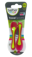 Brother Max Heat Sensitive Travel Baby Weaning Spoons 4M+ Pink/Green (Pack of 2)