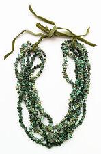 PICKETT green turquoise necklace 6-strand w velvet ribbon immaculate unworn