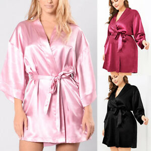 PLUS SIZE Women Satin Silk Night Gown Kimono Sleepwear Bridal Nightwear Robe