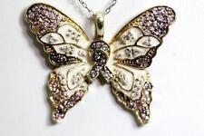 """Sterling Silver Enamel Rhinestone Butterfly Pendant Hope BGE 1-1/8"""" – 10682"""