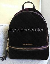 MICHAEL KORS Rhea Zip Quilt Velvet Medium Backpack Bag Purse Plum New