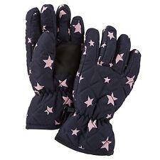 New OshKosh Ski Gloves Winter Glove size 7-12 year Kid Girl NWT  Navy Pink Stars