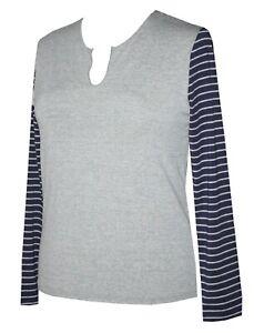 Schneider Sportswear Damen dünnes Langarm Shirt T-Shirt grau / blau Gr. 40 (M)