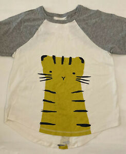 Tea Collection T-Shirt White/Gray Tiger Size 7